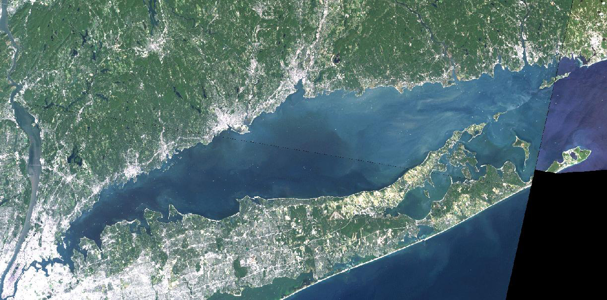Long Island Sound aerial view- blue water, green coast